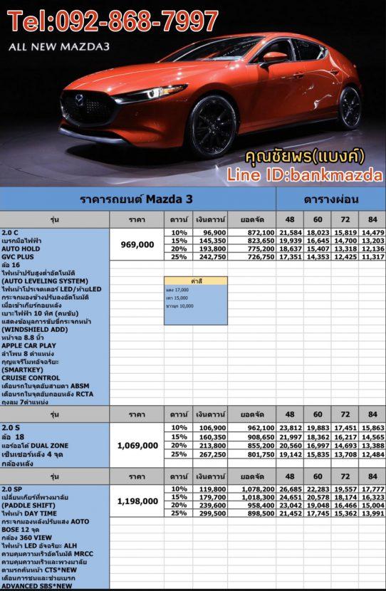 All New MAZDA 3 2019 2020 ราคา 969,000 มาสด้า 3 ใหม่ ตารางผ่อนถูดสุด 10,000 บาท