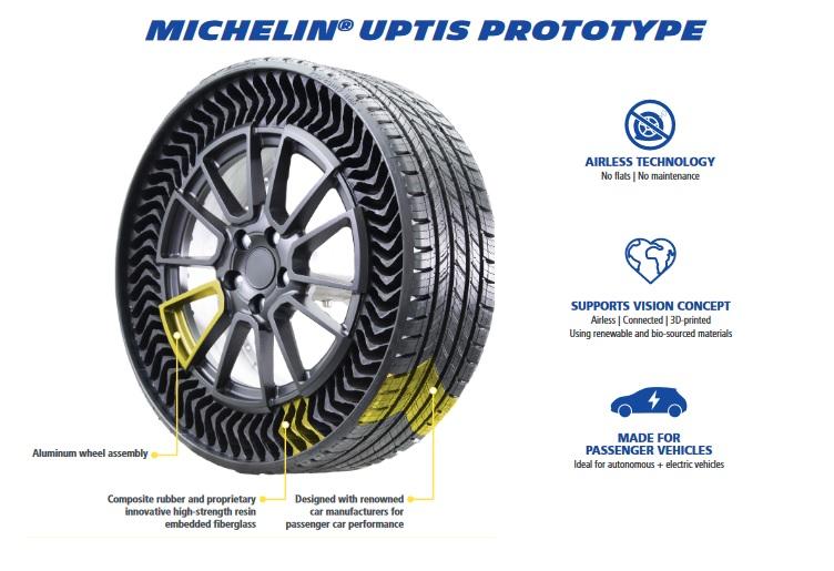 Michelin Uptis ยางไร้ลมยางที่เข้าใกล้การใช้งานจริง