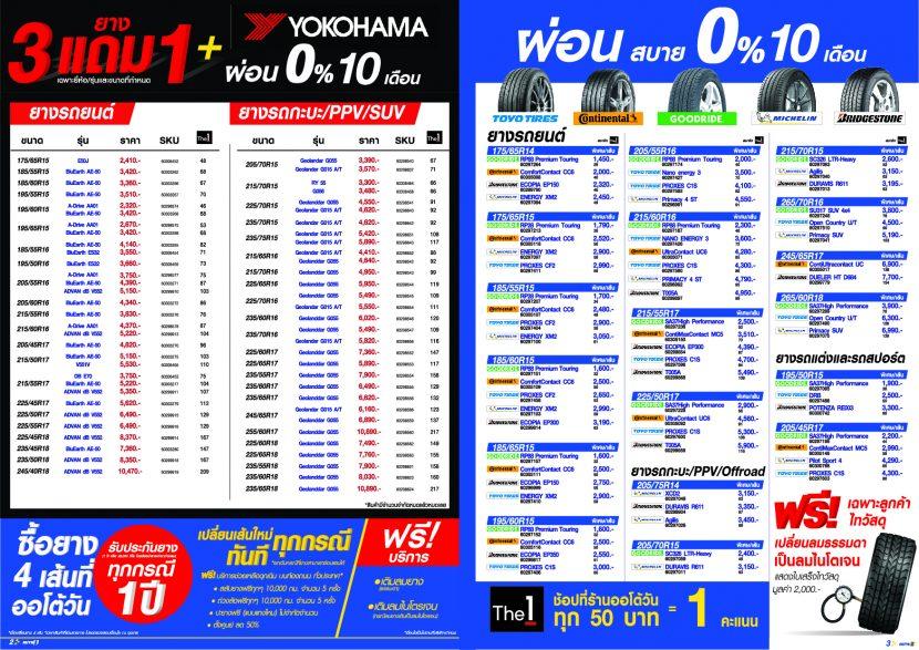 โปรโมชั่น Auto 1 ผ่อนยาง 0% 10 เดือน ยาง YOKOHAMA 3 แถม 1 ถึง 28 มีนาคม 2562